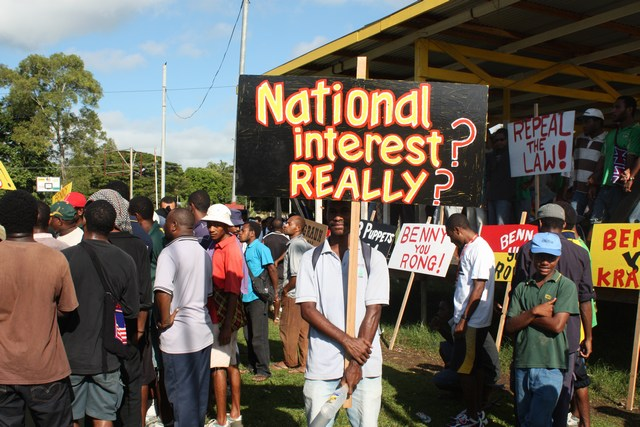 On June 30th over 3,000 people peacefully marched through Madang town to protest the government's amendments to the Environment law that take away landowners rights and grant immunity to foreign companies for the environmental damage they cause.