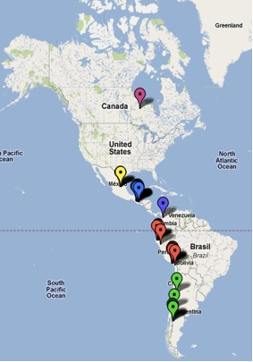 Google map 'Local Votes and Mining in the Americas'
