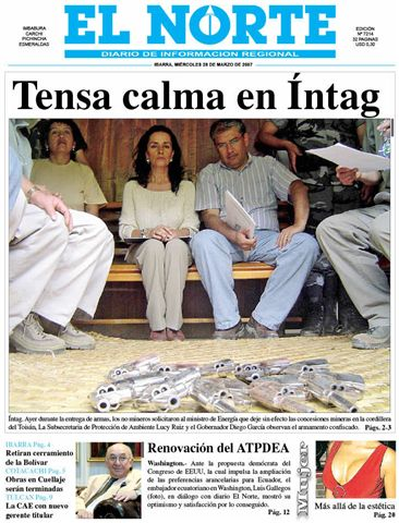 Front page of El Norte, March 28, 2007