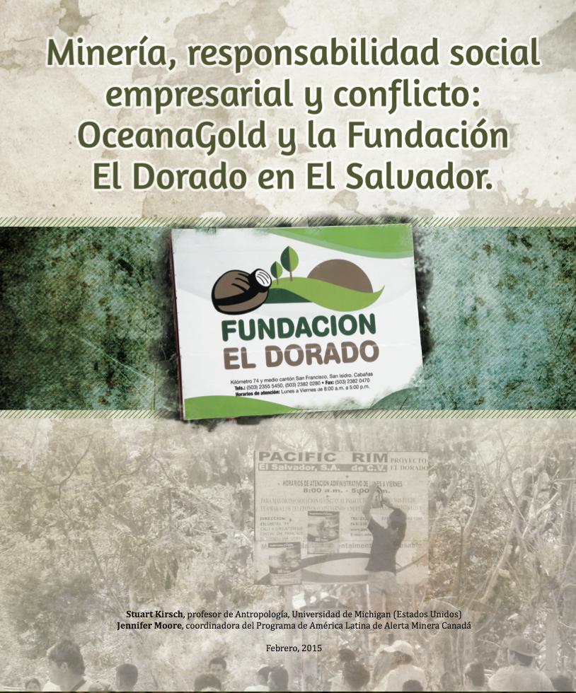 Portada del Informe - Minería, responsabilidad social y empresarial y conflicto: OceanaGold y la Fundación El Dorado en El Salvador