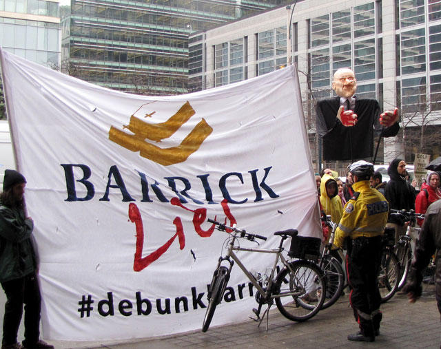 Protestors outside Barrick Gold's 2013 Annual General Meeting