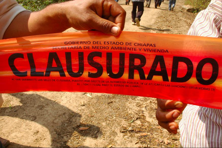 The Payback mine, closed by authority of the State of Chiapas Environment and Housing Secretariat, March 2010. Credit: Dawn Paley