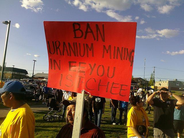 Mistissini youth demonstrate against uranium mining