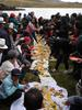 A traditional feast or pampamesa in Kimsacocha, province of Azuay