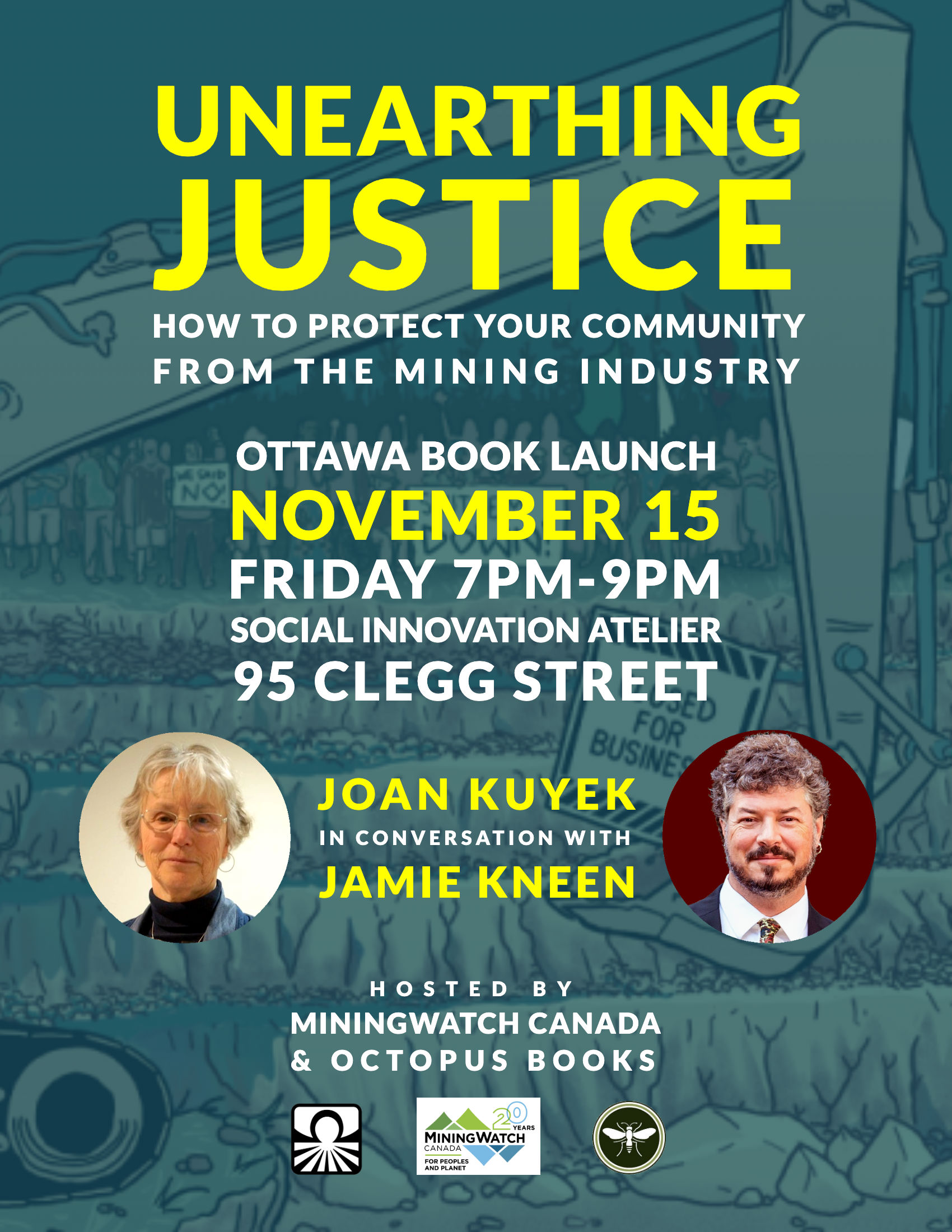 """""""Unearthing Justice"""" Ottawa book launch poster"""